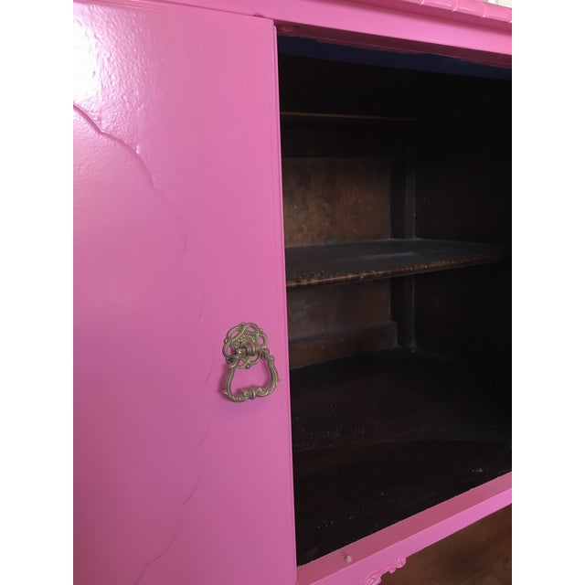Vintage Pink Painted 1940s Chippendale Revival Claw and Ball Foot Cabriole Legs Server Console Mahogany For Sale - Image 10 of 11