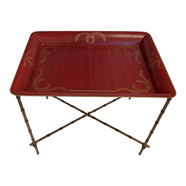 Tray Top Side Table With Gilt Bamboo Base For Sale