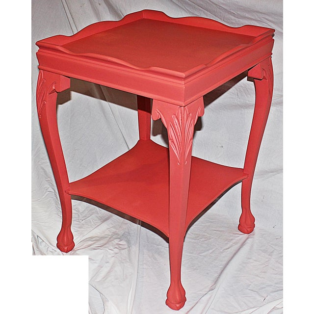 Coral-Painted Mahogany Side Table - Image 2 of 5