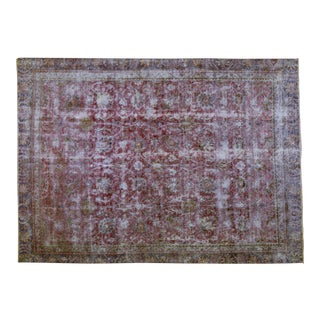 """1940s Shabby Chic Persian Red Wool Tabriz Rug - 8'3""""x11'5"""" For Sale"""