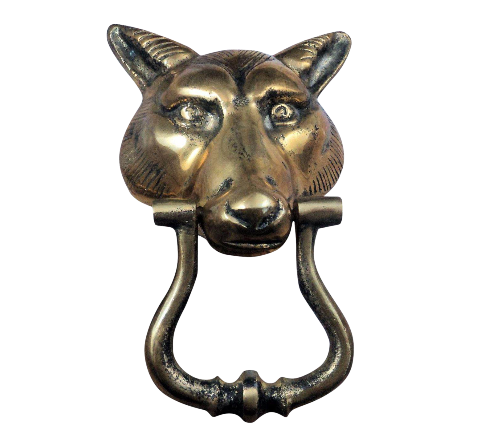 Merveilleux Mid Century Brass Wolf Head Door Knocker