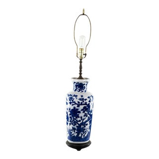 1960s Chinese Porcelain Blue and White Vase Table Lamp For Sale