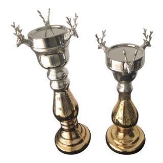 Contemporary Mercury Glass Holiday Stag Candleholders - A Pair For Sale