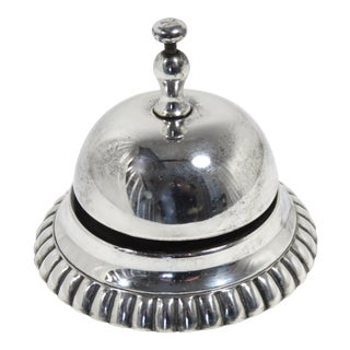 Late 19th Century Antique Silver Plate Front Desk Bell For Sale