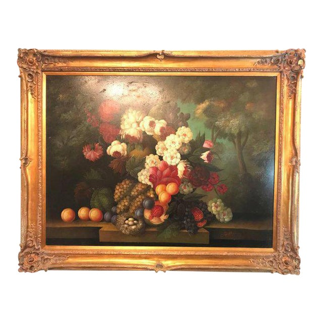 A Palatial Framed Oil On Canvas Still Life Of Flowers For Sale