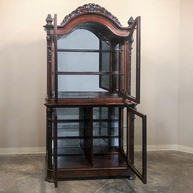 French 19th Century French Napoleon III Period Mahogany Bookcase ` Vitrine For Sale - Image 3 of 11