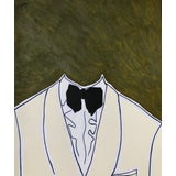 "Image of ""Evening Portrait"" Contemporary Pop Art Surrealist Portrait Mixed-Media Painting For Sale"