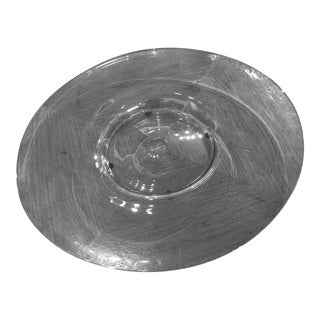 Round Glass Sky Blue Platter For Sale