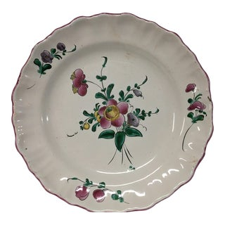 French Hand Painted No.6 Faience Plate For Sale