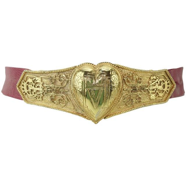 Vintage Accessocraft Nyc Ornate Heart Buckle & Belt For Sale