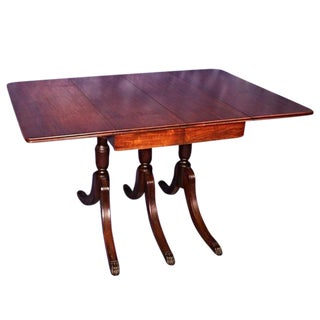 1930 Duncan Phyfe Antique Mahogany Drop Leaf Dining Table For Sale