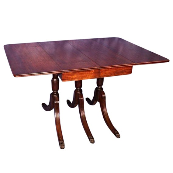 Duncan Phyfe Round Table With Drawer.1930 Duncan Phyfe Antique Mahogany Drop Leaf Dining Table
