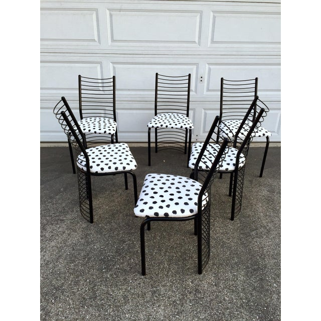Modern Regency Style Wire Barrel Chairs - Set of 6 For Sale In Los Angeles - Image 6 of 7