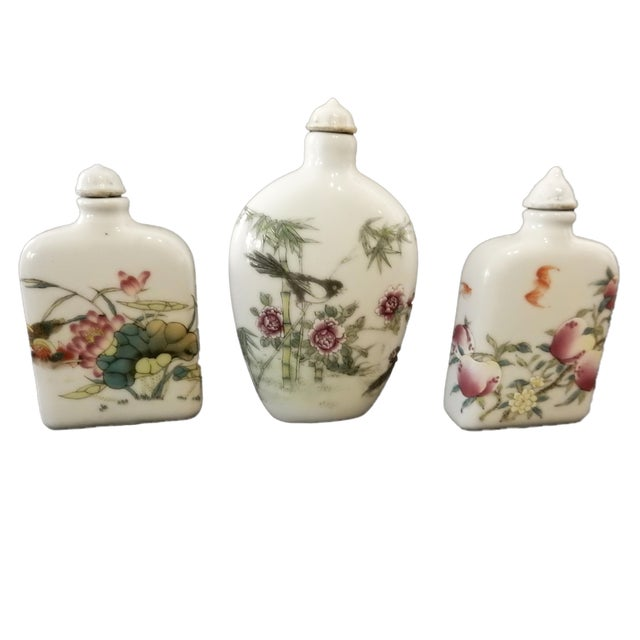 Famile Rose Porcelain Snuff Bottles - Set of 3 For Sale - Image 10 of 10