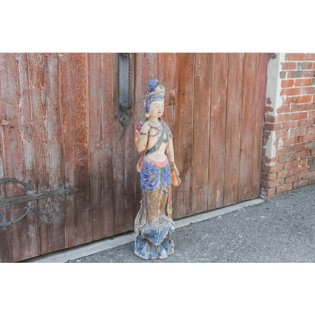 Antique Polychrome Quand-Yin Statue For Sale - Image 4 of 11
