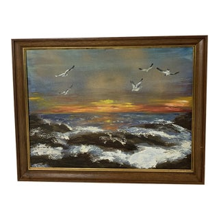 1970s Vintage Framed Seascape at Sunset or Sunrise With Seagulls Painting For Sale