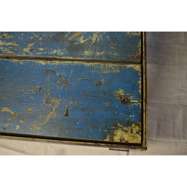 Worn Blue-Painted Coffee Table - Image 7 of 7