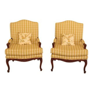 1990s Yellow Plaid Print French Style Bergere Armchairs - a Pair