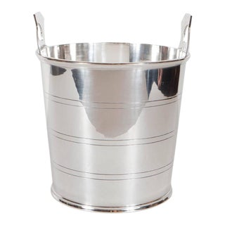 Handsome English Art Deco Silver-Plate Ice Bucket with Stylized Handles For Sale