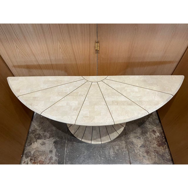 Maitland - Smith Maitland Smith Tessellated Travertine Demilune Table With Brass Inlay For Sale - Image 4 of 13