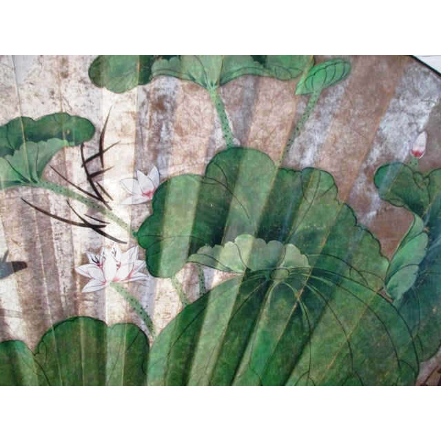 1980s Japanese Hand-Painted Paper & Wood Wall Fan For Sale - Image 4 of 13