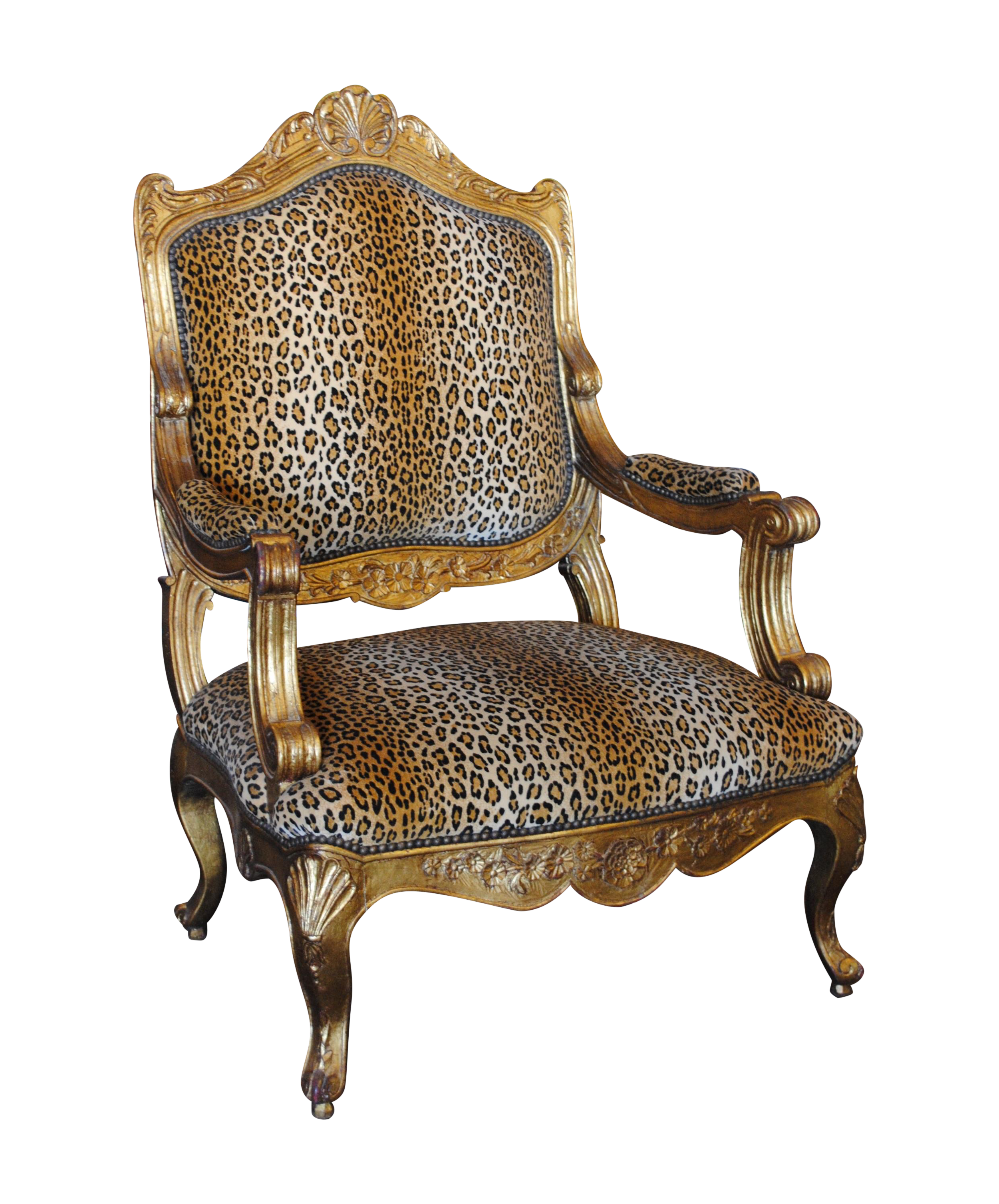 French Louis Xv Style Giltwood Amp Leopard Armchair Chairish