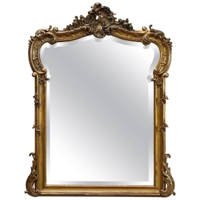 19th Century French Rococo Mirror With Beveled Glass For Sale - Image 11 of 11