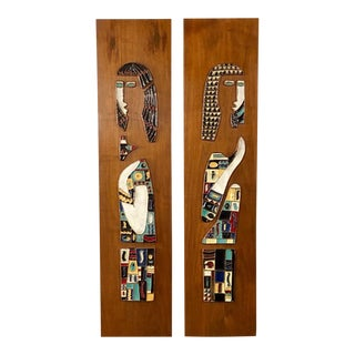 Mid Century Modern Enameled Artworks on Walnut Panels by Harris Strong - a Pair For Sale
