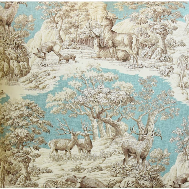 "Woodland Toile Deer & Velvet Feather/Down Pillows 25"" Square - Pair For Sale - Image 4 of 13"