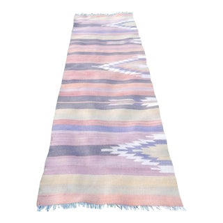 Vintage Striped Turkish Oushak Kilim Runner 2′7″ × 7′9″ For Sale