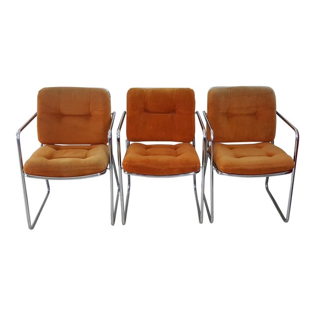 Vintage 1970s Mid Century Modern ChromeCraft Corp Chairs - Set of 3 For Sale