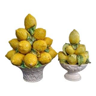 A Pair Italian Lemon Ceramic Topiary Tree Basket