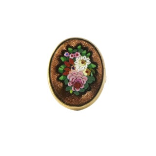 1900s Antique Micro Mosaic 14k Gold Fower Ring For Sale