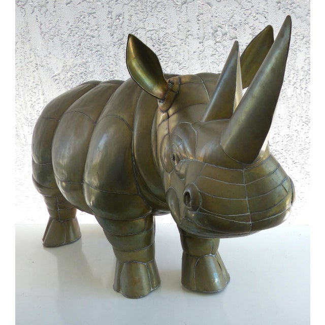 Sergio Bustamante Sergio Bustamante Brass Rhino Sculpture for SerMel For Sale - Image 4 of 13
