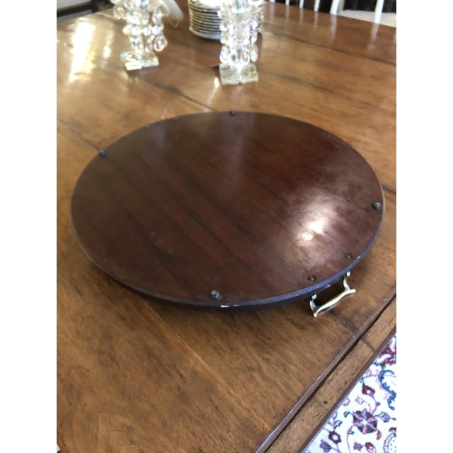 Metal Inlay Wood Round Serving Tray For Sale - Image 7 of 8