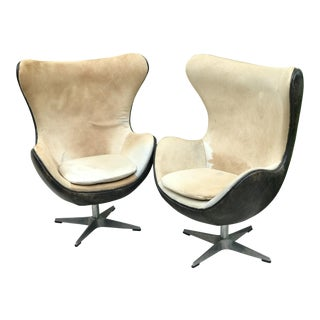Restoration Hardware Copenhagen Cowhide & Leather Wingback Chairs - A Pair