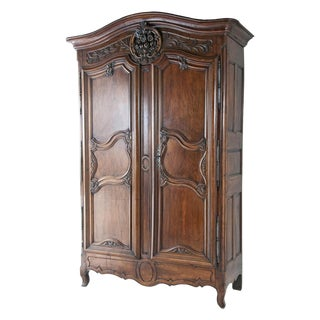 Mid 18th Century Walnut Chateau Armoire For Sale