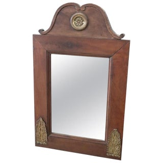 19th Century Italian Walnut Wood Wall Mirror With Gilded Bronze Decorations For Sale