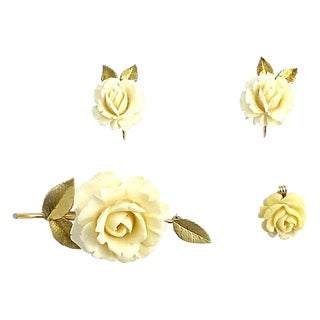 Krementz Rose Earrings, Brooch & Pendant For Sale
