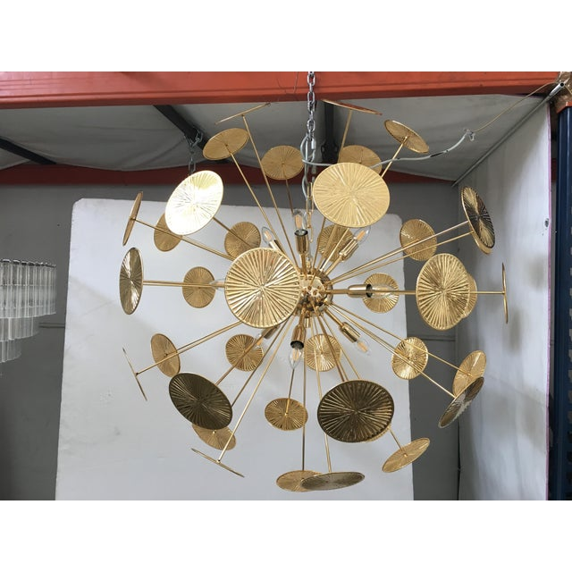 Early 21st Century Gold Metal Frame Sputnik Chandelier For Sale - Image 4 of 11