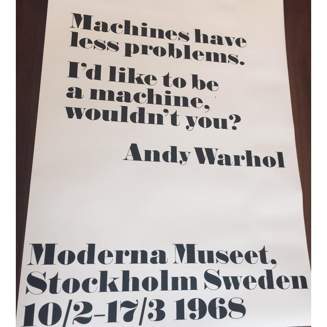 Reproduction of iconic posters from Andy Warhol's first exhibition outside the US in 1968. Beautiful typography and bold...