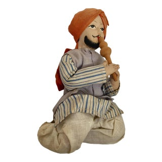 Handcrafted Anglo-Raj Vintage Stuffed Sitting Snake Charmer Doll, India For Sale