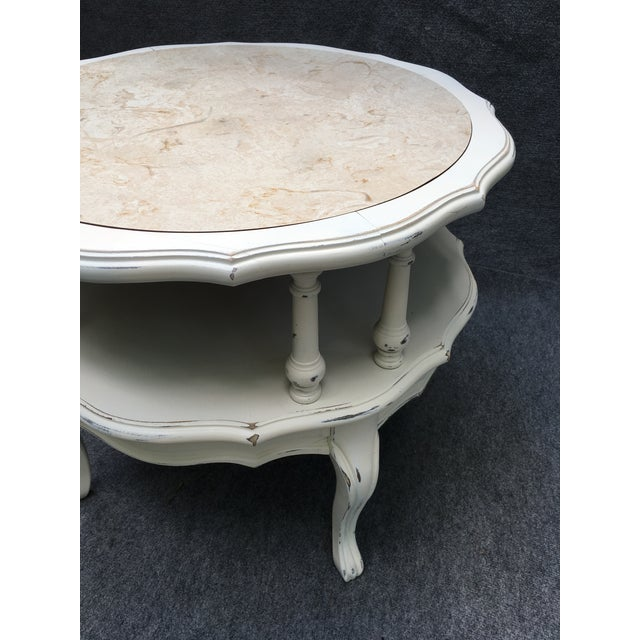 French Country Vintage 2 Tiered Mersman Accent Table For Sale - Image 3 of 11