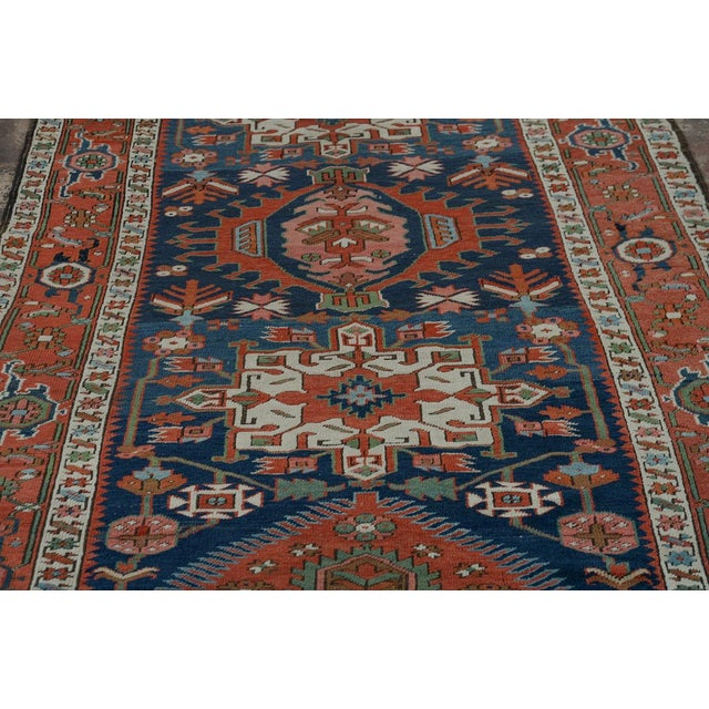 Early 19th Century Caucasian Kazak Tribal Design Runner Rug - 4′ × 12′11″ For Sale - Image 5 of 10