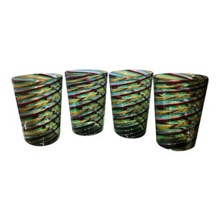 Set of 4 Murano Italian Art Glass Cocktail Tumblers - Venini For Sale
