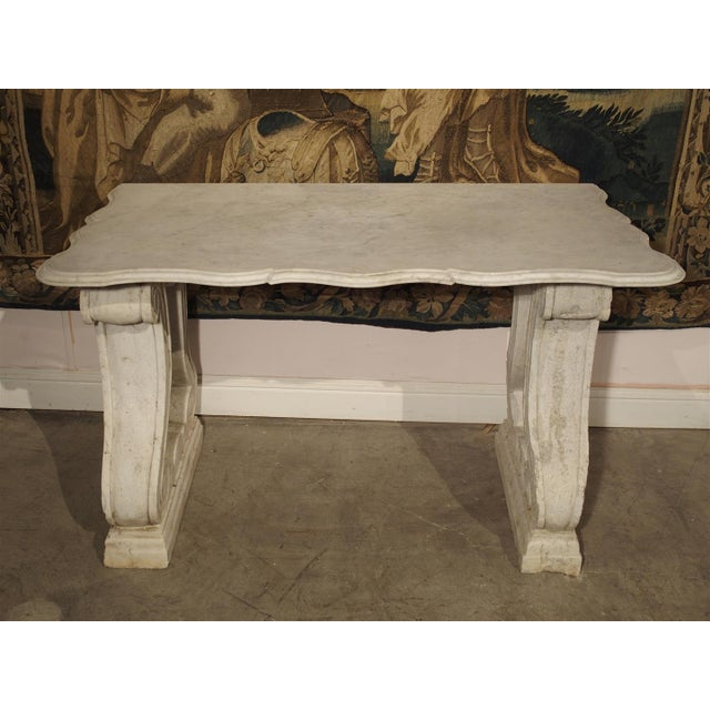 Antique Carved White Marble Console Table from France, 19th Century For Sale - Image 4 of 13