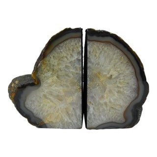 Polished Natural Geode Bookends - a Pair For Sale