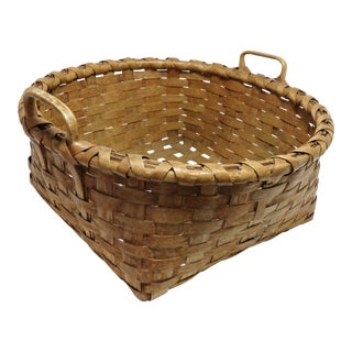 1910s Country Hand Woven Splint Basket For Sale