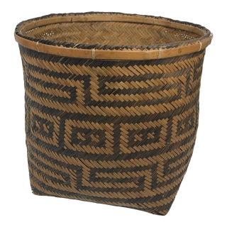 Boho Chic Black and Tan Wicker Basket Planter