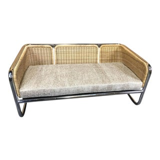 Martin Visser Wicker and Chrome Cantilever Couch For Sale